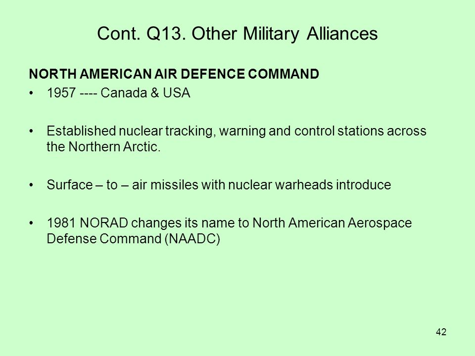 Cont. Q13. Other Military Alliances