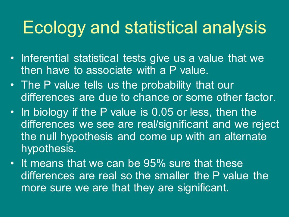 Ecology and statistical analysis