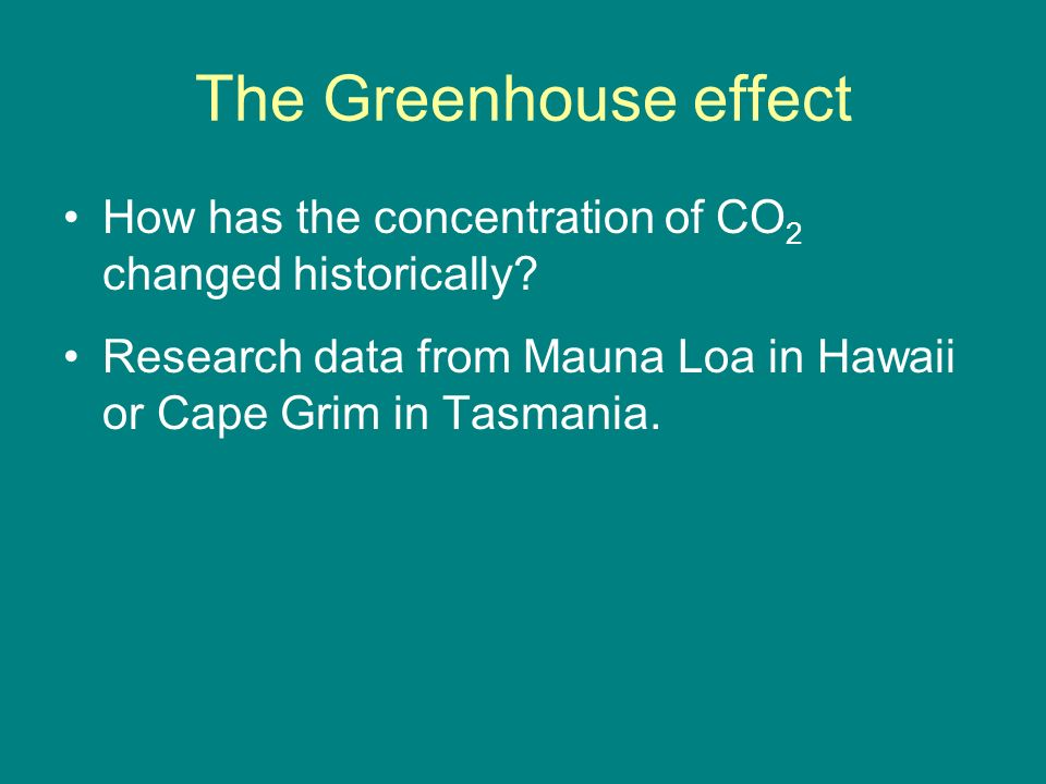 The Greenhouse effect How has the concentration of CO2 changed historically.
