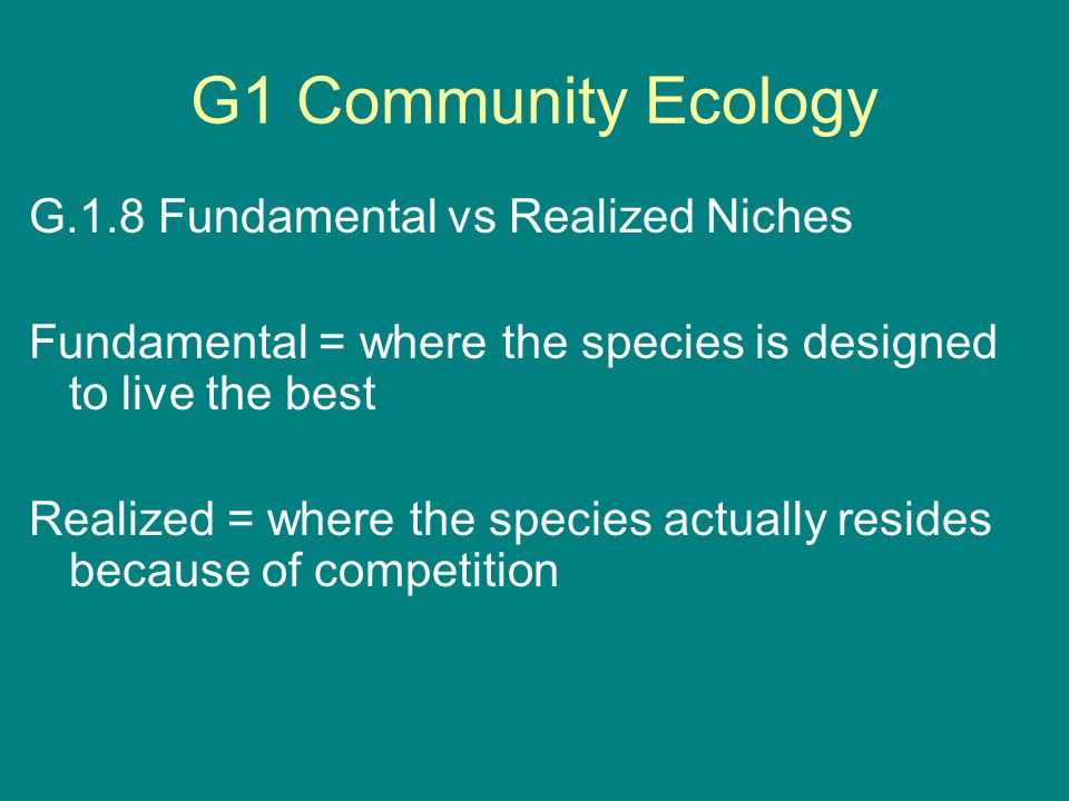 G1 Community Ecology G.1.8 Fundamental vs Realized Niches