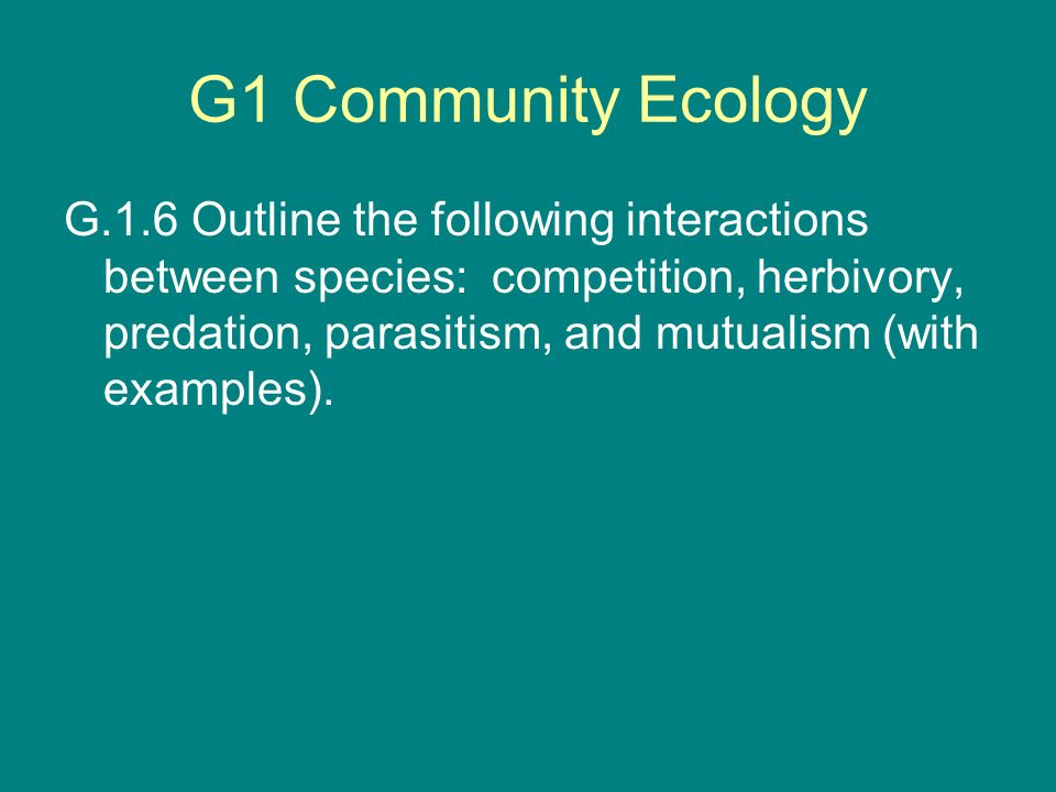 G1 Community Ecology