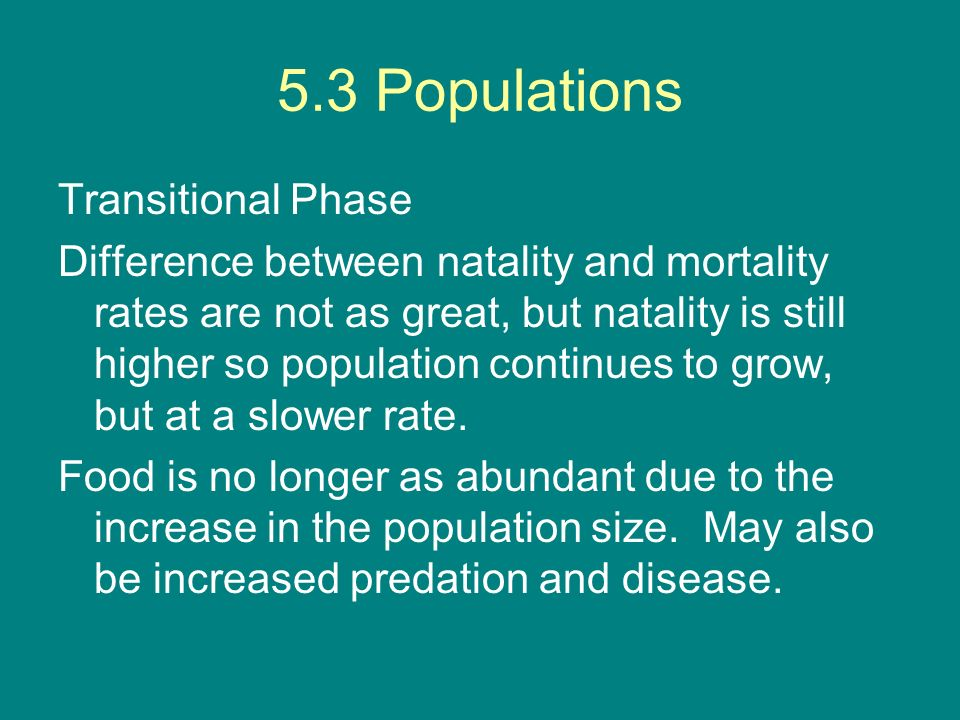 5.3 Populations Transitional Phase