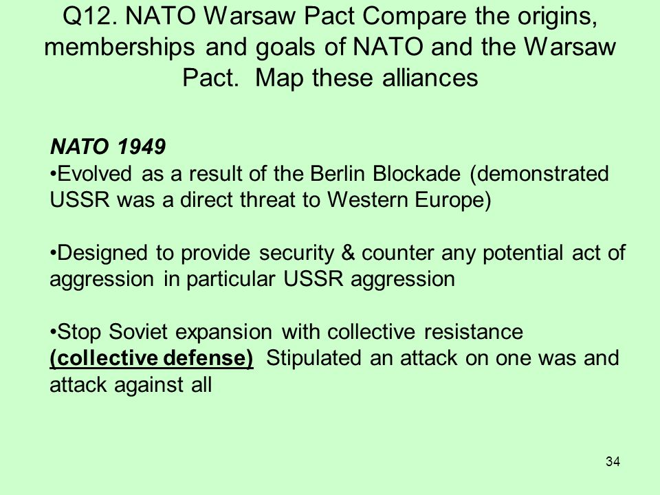 Q12. NATO Warsaw Pact Compare the origins, memberships and goals of NATO and the Warsaw Pact. Map these alliances