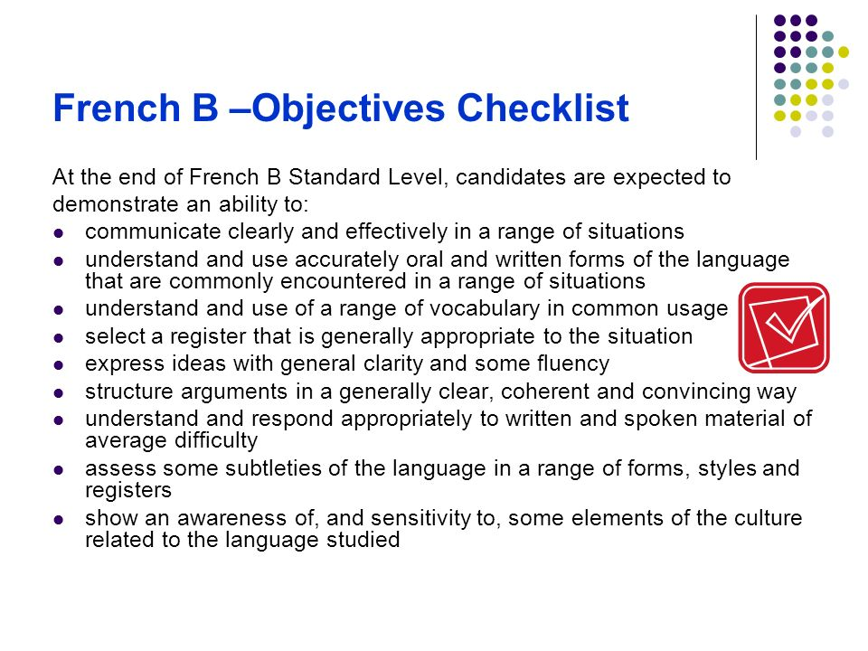 French B –Objectives Checklist