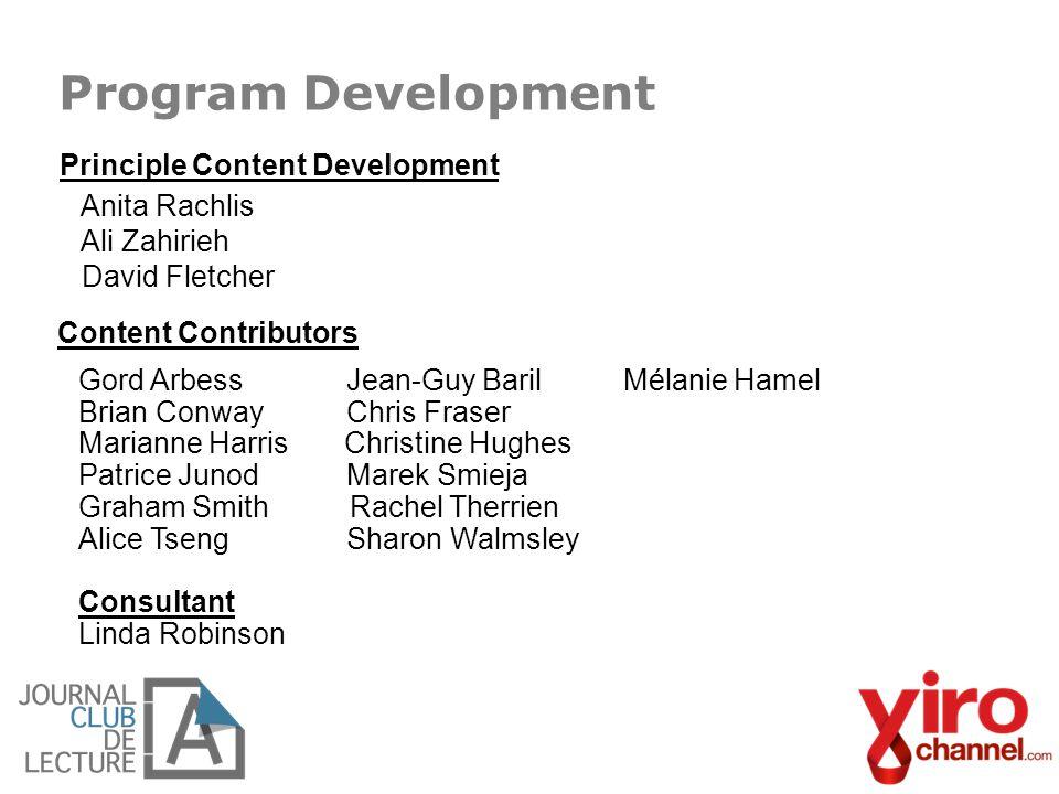 Program Development Principle Content Development Anita Rachlis