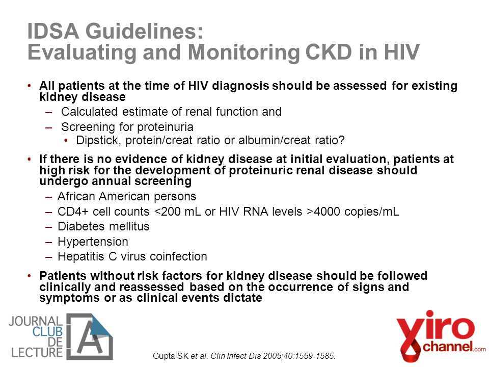IDSA Guidelines: Evaluating and Monitoring CKD in HIV