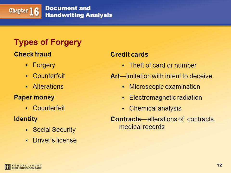 Types of Forgery Check fraud Credit cards Forgery