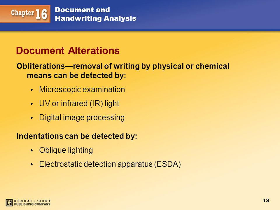 Chapter 15 Document Alterations. Obliterations—removal of writing by physical or chemical means can be detected by: