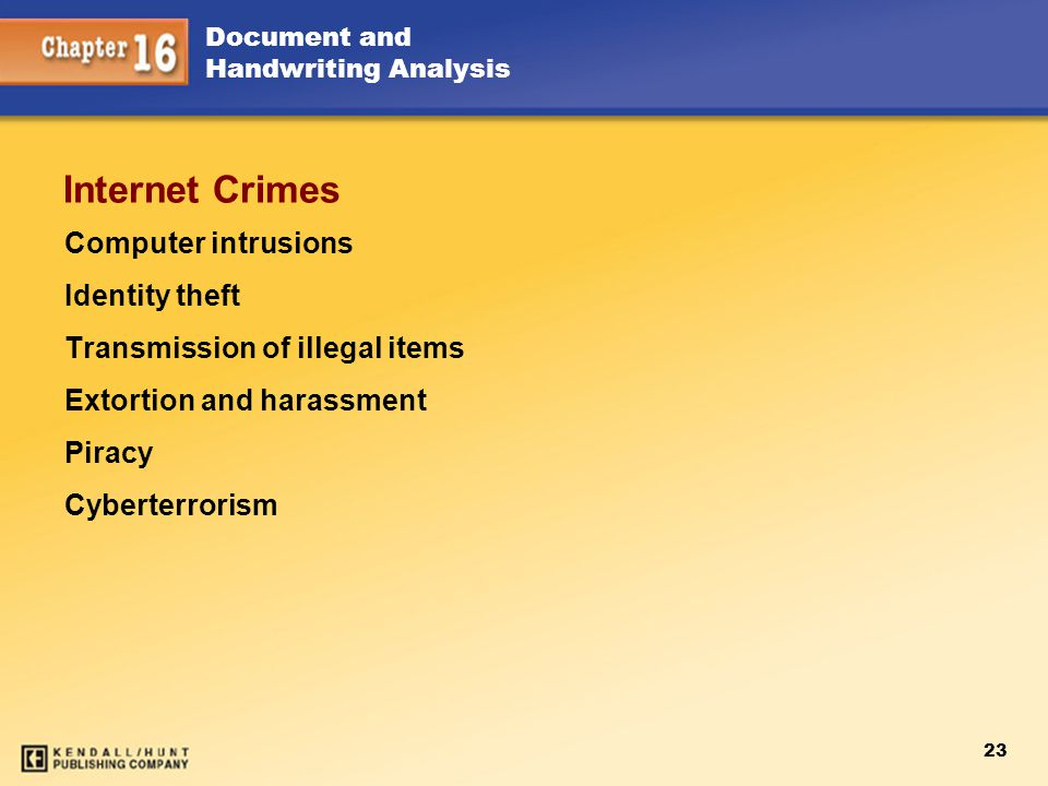 Internet Crimes Computer intrusions Identity theft