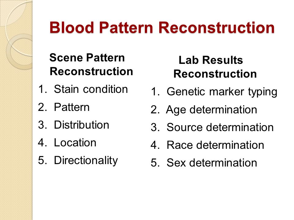 Blood Pattern Reconstruction