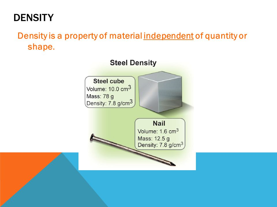 Density Density is a property of material independent of quantity or shape.