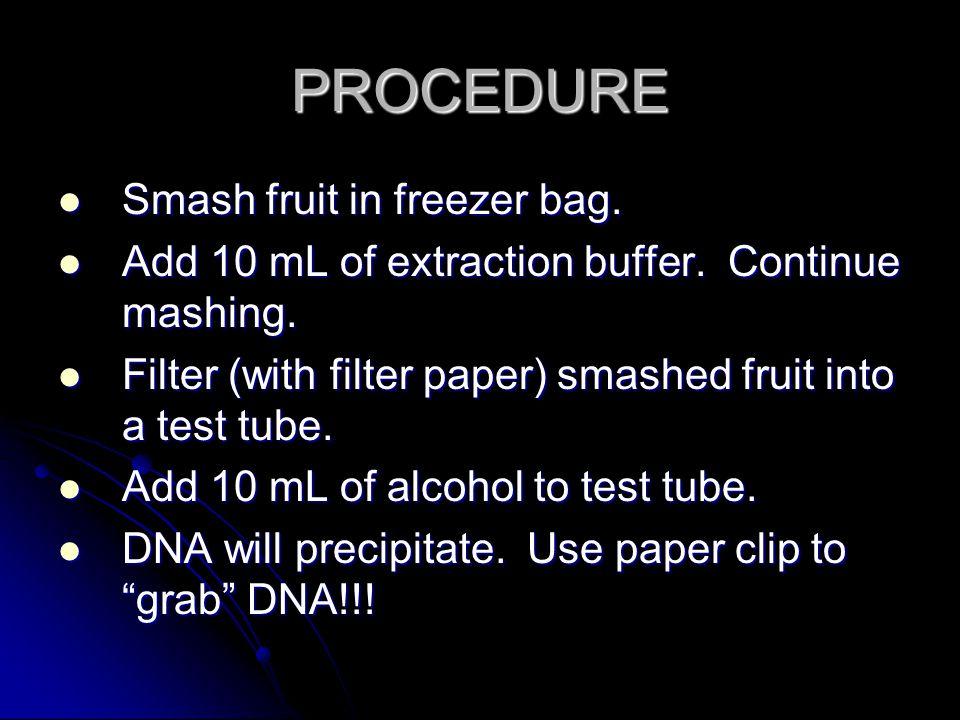PROCEDURE Smash fruit in freezer bag.