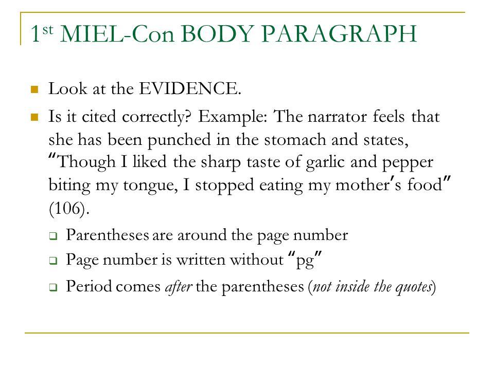 1st MIEL-Con BODY PARAGRAPH