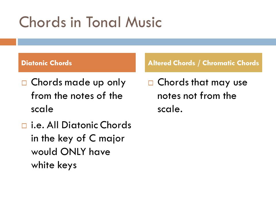 Chords in Tonal Music Chords made up only from the notes of the scale