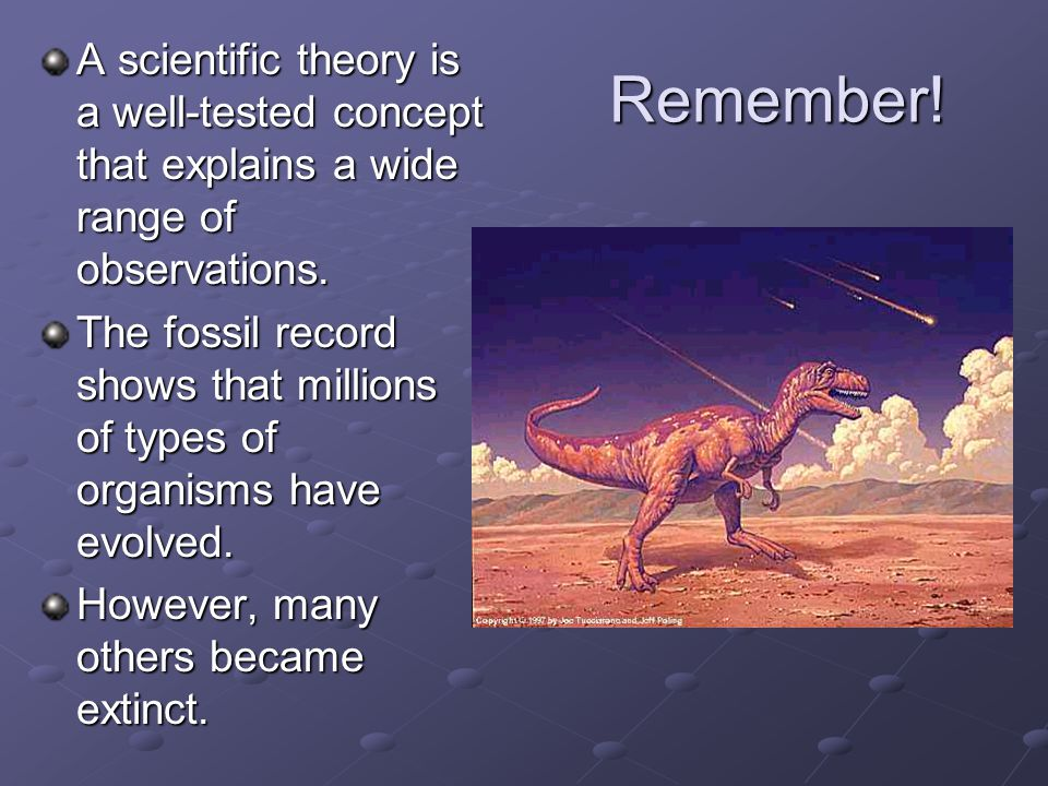 A scientific theory is a well-tested concept that explains a wide range of observations.
