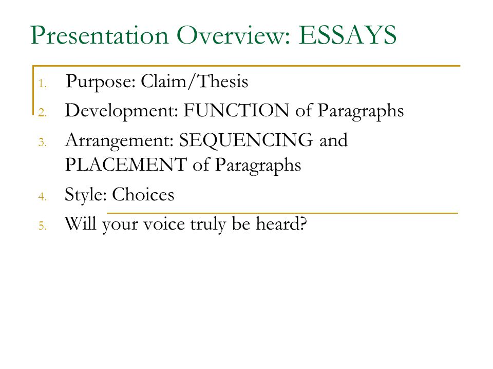 Presentation Overview: ESSAYS