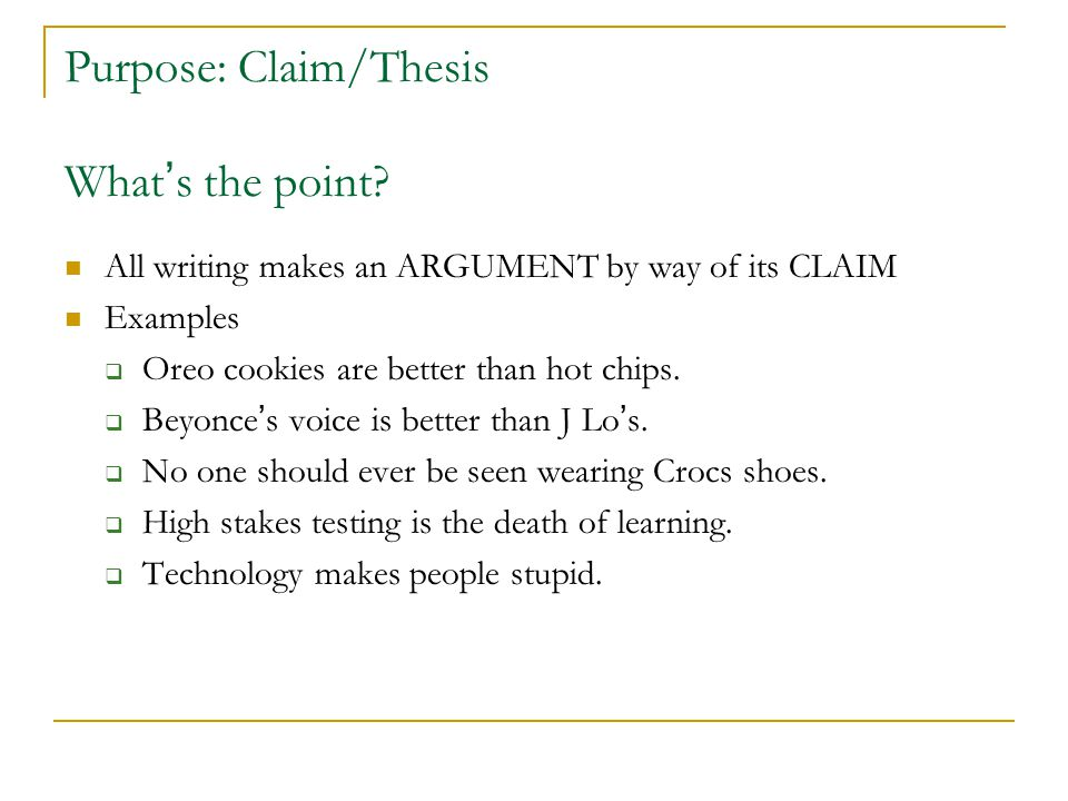 Purpose: Claim/Thesis What's the point