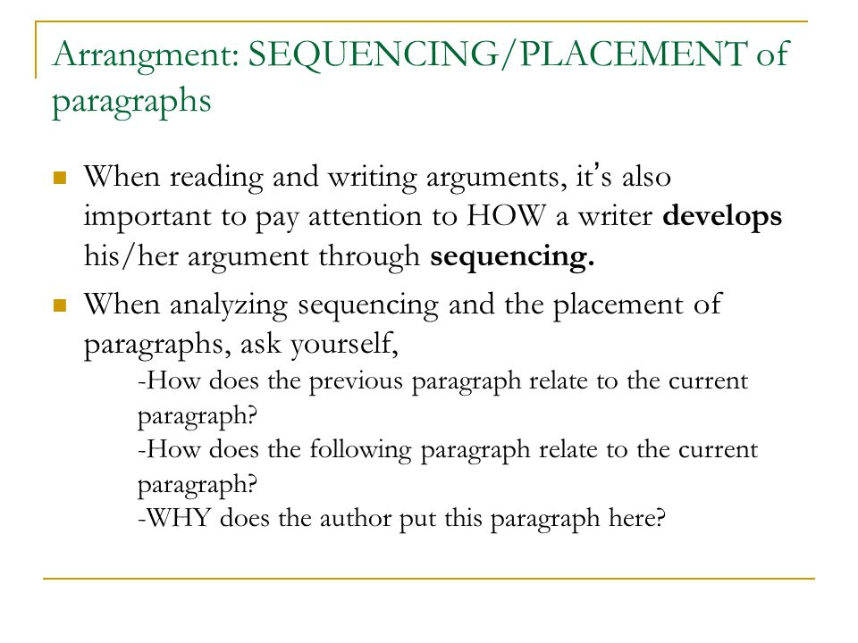 Arrangment: SEQUENCING/PLACEMENT of paragraphs