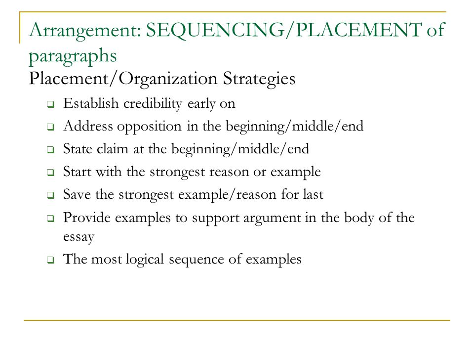 Arrangement: SEQUENCING/PLACEMENT of paragraphs