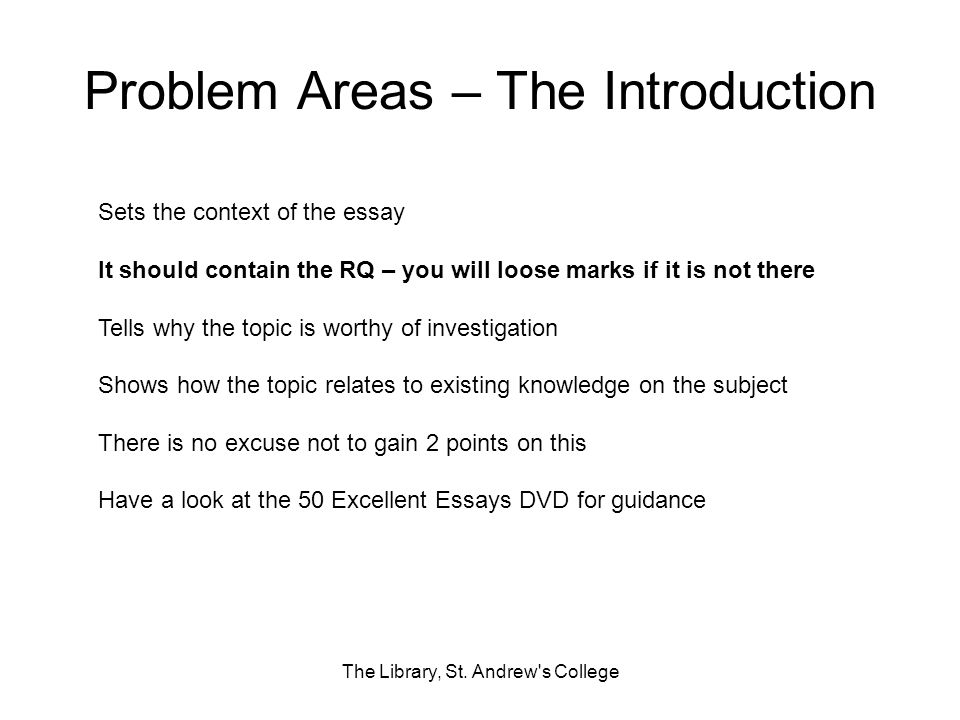 Problem Areas – The Introduction