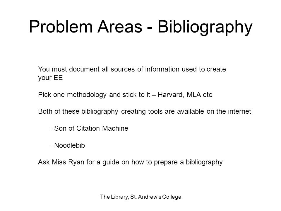 Problem Areas - Bibliography