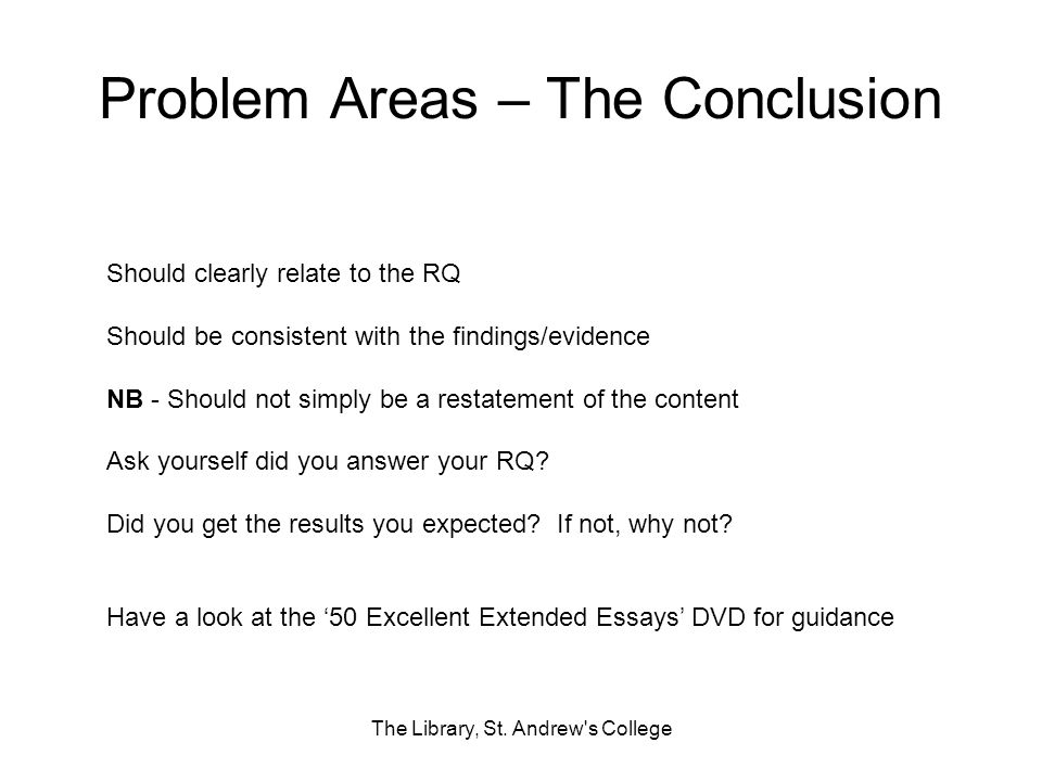 Problem Areas – The Conclusion