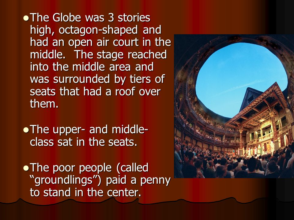 The Globe was 3 stories high, octagon-shaped and had an open air court in the middle. The stage reached into the middle area and was surrounded by tiers of seats that had a roof over them.