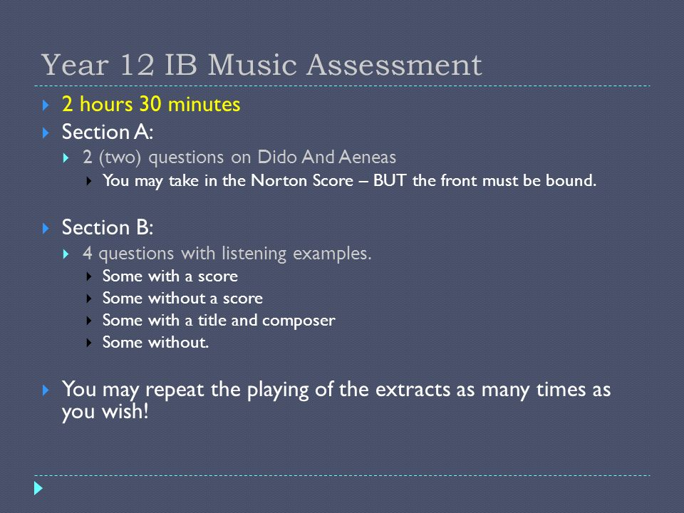 Year 12 IB Music Assessment