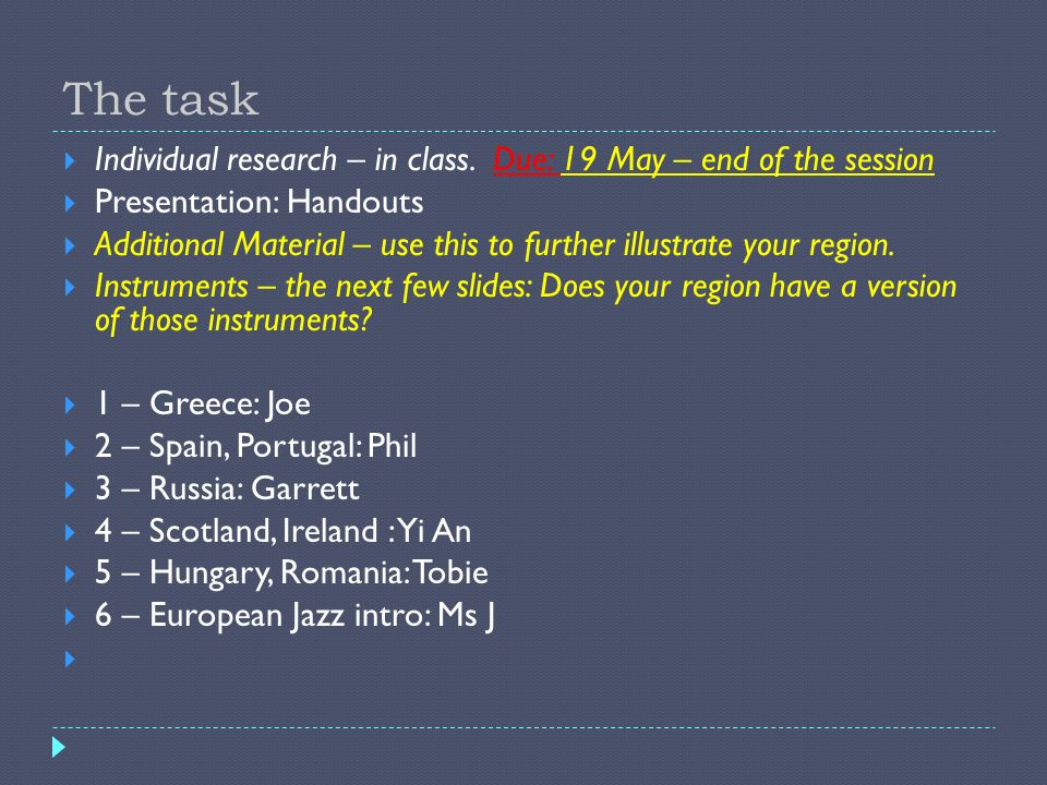 The task Individual research – in class. Due: 19 May – end of the session. Presentation: Handouts.