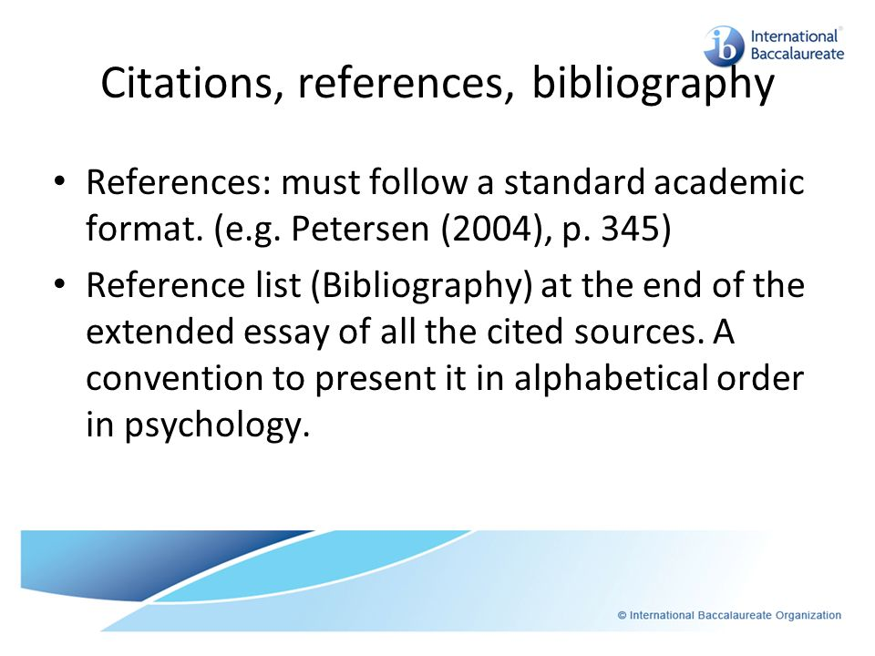 Citations, references, bibliography