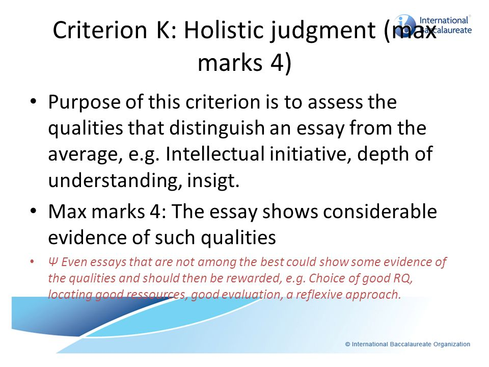Criterion K: Holistic judgment (max marks 4)