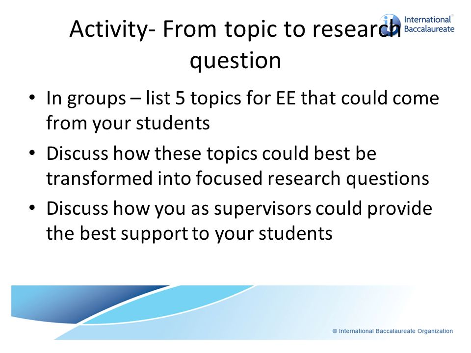 Activity- From topic to research question