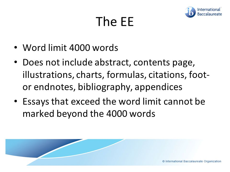The EE Word limit 4000 words.