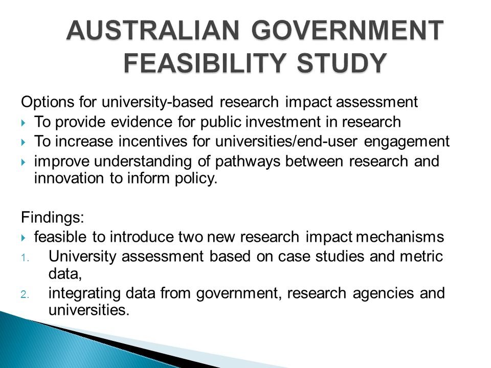 AUSTRALIAN GOVERNMENT FEASIBILITY STUDY