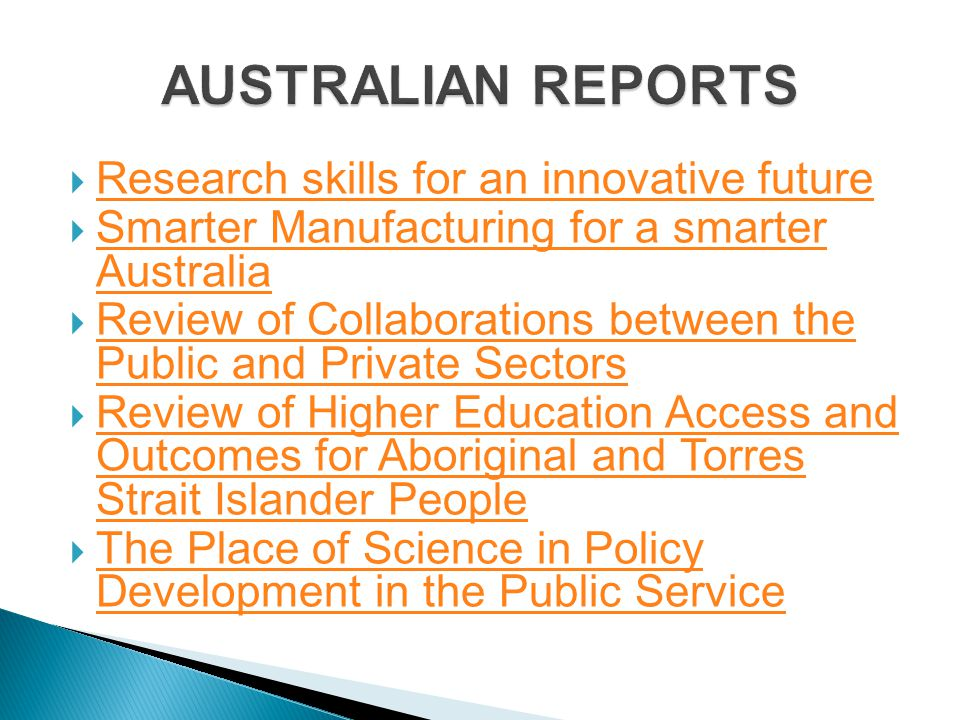 AUSTRALIAN REPORTS Research skills for an innovative future
