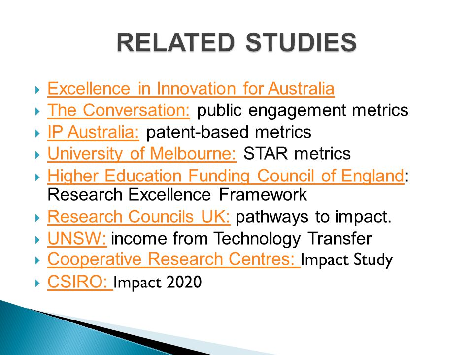 RELATED STUDIES Excellence in Innovation for Australia