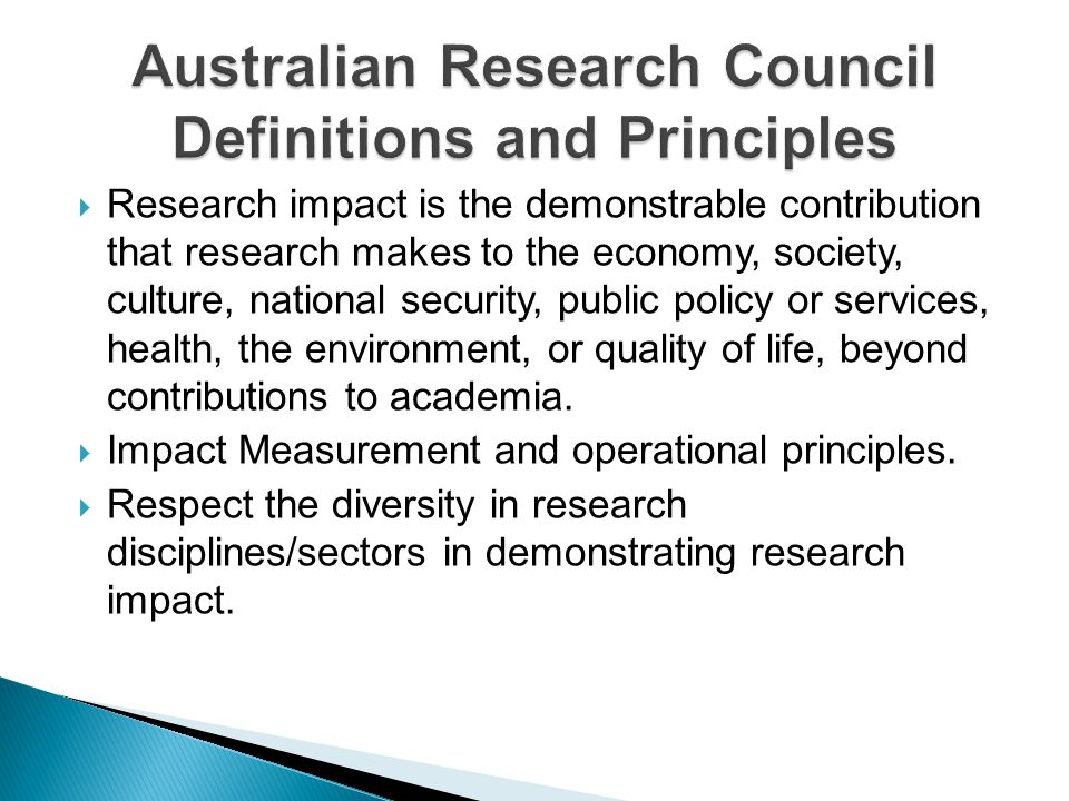 Australian Research Council Definitions and Principles
