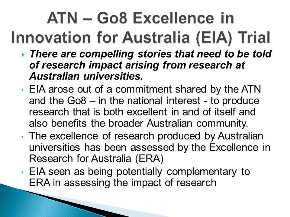 ATN – Go8 Excellence in Innovation for Australia (EIA) Trial