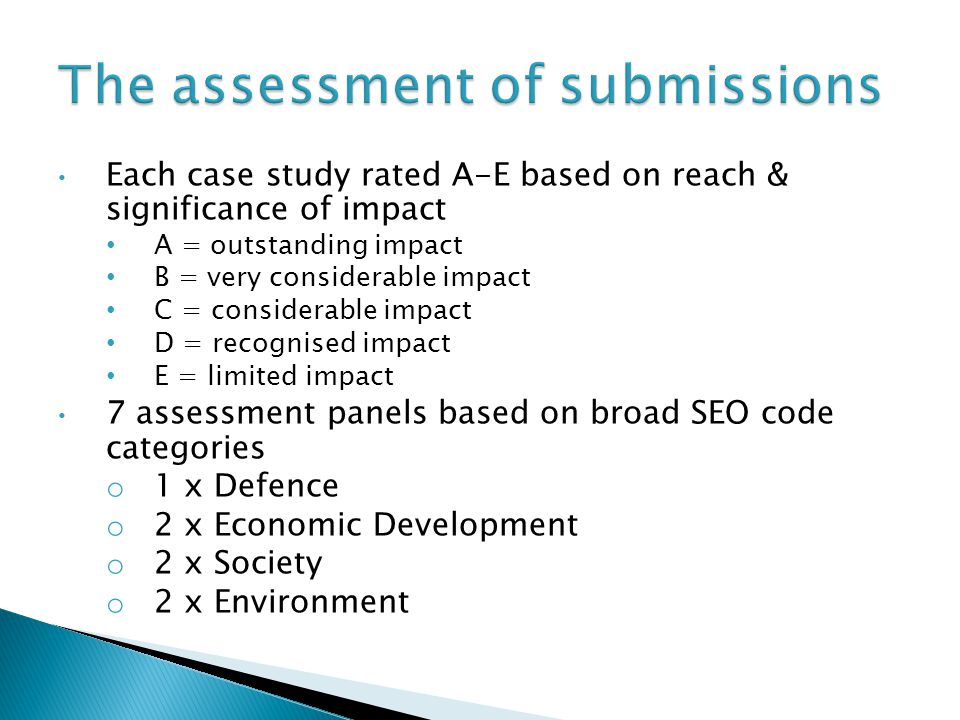 The assessment of submissions