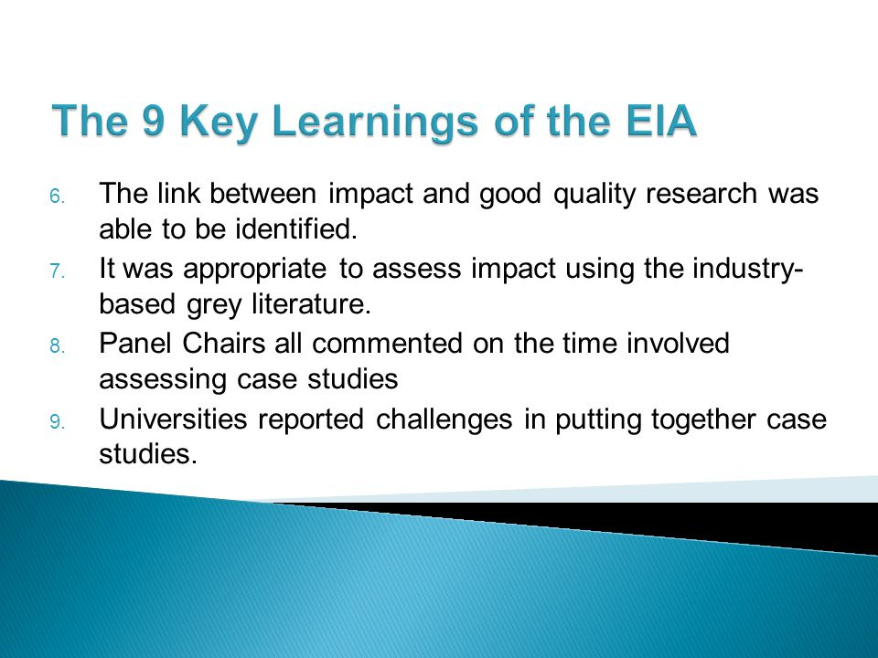The 9 Key Learnings of the EIA