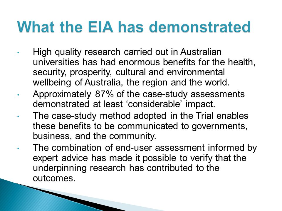 What the EIA has demonstrated
