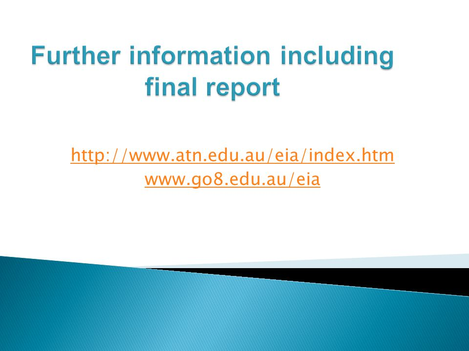 Further information including final report