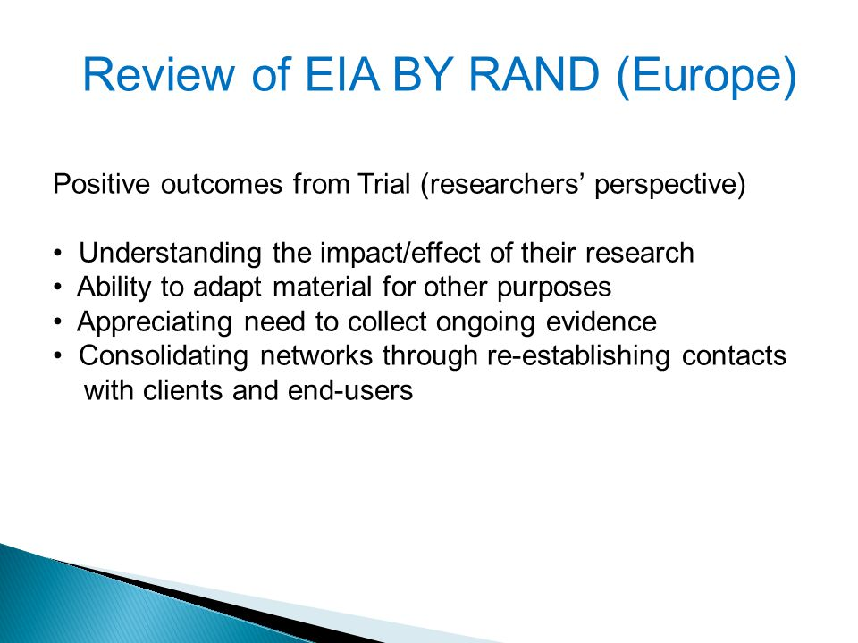 Review of EIA BY RAND (Europe)