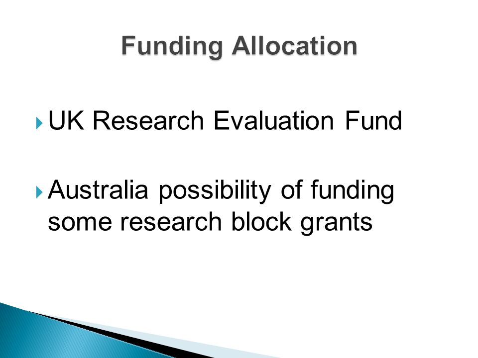 Funding Allocation UK Research Evaluation Fund.