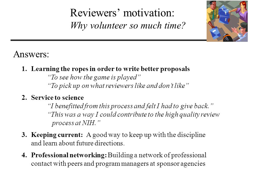 Reviewers' motivation: