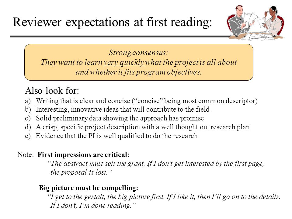 Reviewer expectations at first reading: