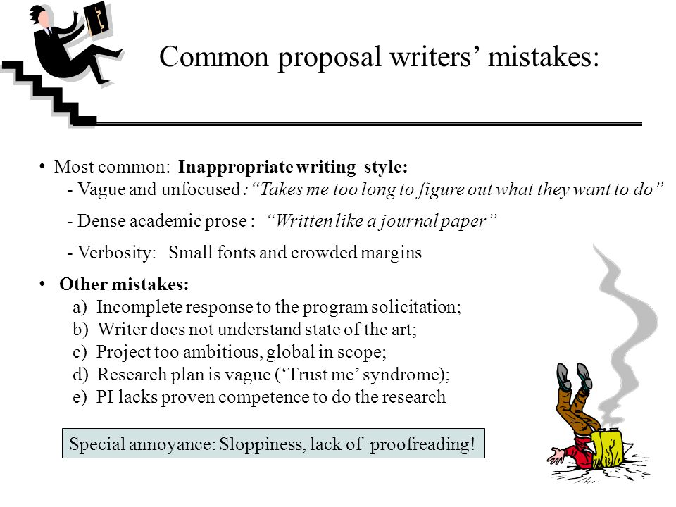 Common proposal writers' mistakes: