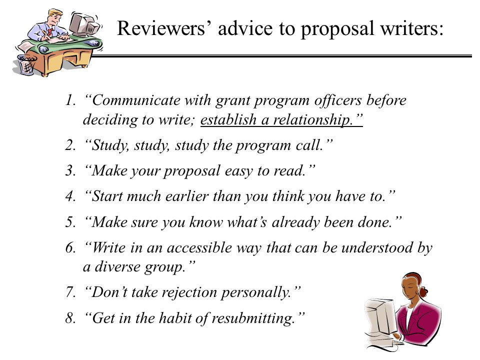 Reviewers' advice to proposal writers: