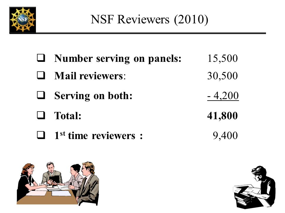 NSF Reviewers (2010) Number serving on panels: 15,500