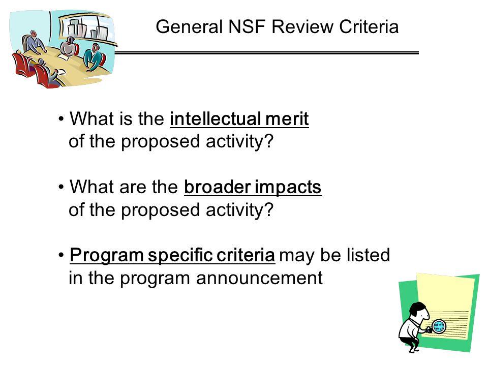 General NSF Review Criteria